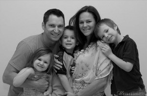 black and white photo of a family